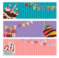 banner de fundo de festa com ilustração vetorial de bandeiras e bolos vetor