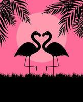 ilustração em vetor fundo rosa fofo flamingo