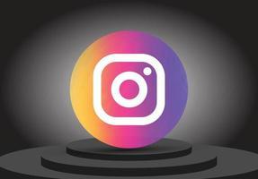 ícone do instagram 3D da mídia social vetor