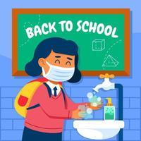 aluno lavando as mãos antes de entrar na sala de aula vetor