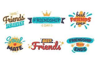 coleção de adesivos de amizade vetor