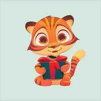mascote ou ícone de vetor de tigre bebê
