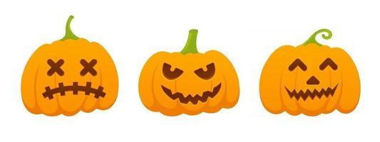 3 abóboras de halloween laranja definidas com ilustração em vetor design estilo plano careta de expressão de rosto assustador isolada no fundo branco.