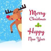 a rena de natal do nariz vermelho dançando e desejando feliz natal vetor