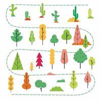 plantas e árvores estilo plano conjunto mínimo abstrato. versão simples de design de plantas na floresta, jardim ou ilustração em vetor criador de cena do deserto isplated