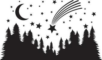 paisagem noturna de estrela cadente vetor