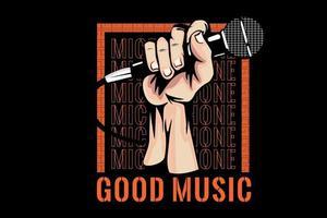microfone boa música tipografia design vetor