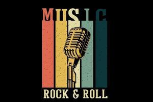 design de t-shirt de mercadoria de música rock and roll com microfone vetor