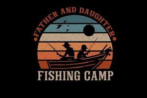 desenho de silhueta de acampamento de pesca de pai e filha vetor