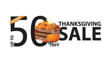 promoção de ação de graças, até 50 de desconto, banner branco criativo com caixas de madeira com abóboras maduras e beirais de outono vetor
