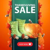 venda de ação de graças, banner da web com fita verde vertical decorada com folhas de outono e abóbora, botas de borracha, abóbora, cogumelos e folha de outono vetor