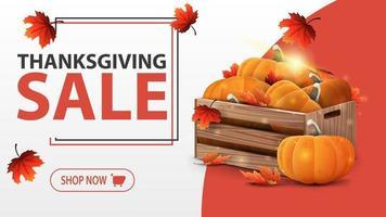 venda de ação de graças, banner branco com caixas de madeira de abóboras maduras e folhas de outono vetor