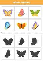 encontrar sombras de borboletas de desenho animado. cartões para crianças. vetor