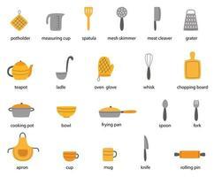 conjunto de utensílios de cozinha com nomes. ilustrações vetoriais. vetor