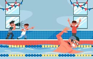 nadando na competição vetor