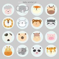 o conjunto de ícones de desenhos animados de animais fofos. estilo desenhado à mão vetor