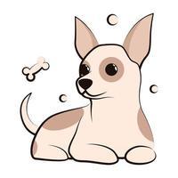 ícone de ilustração vetorial bonito dos desenhos animados de um cachorrinho chihuahua. é um design plano. vetor