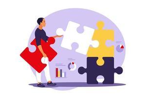 Solução de problemas. decisão criativa, conceito de tarefa difícil. homem montagem de quebra-cabeça. cooperação e trabalho em equipe. ilustração vetorial. apartamento. vetor