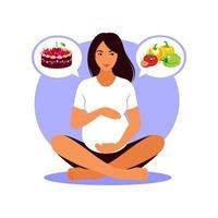 mulher grávida escolhe entre comida saudável ou fast food. ilustração em vetor plana