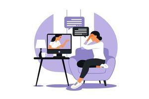 terapia e aconselhamento online sob estresse e depressão. psicoterapeuta jovem apóia mulheres com problemas psicológicos. vetor