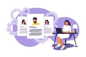 gerente de RH procurando e analisando candidato a emprego. entrevista para o conceito de trabalho. ilustração vetorial. apartamento isolado. vetor