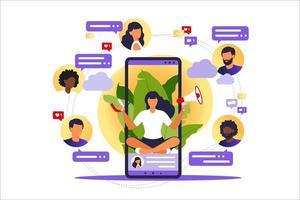 marketing publicitário influenciador. serviços de promoção de blogueiros e produtos para seus seguidores online. ilustração vetorial. influenciar blogueiro, smm digital, marketing na web online. vetor
