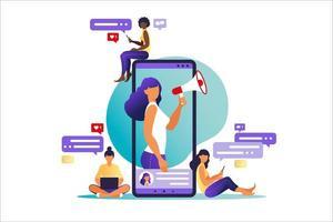 mulher com megafone na tela do celular e os jovens ao seu redor. ilustração vetorial no apartamento com personagens - influencie produtos e serviços de promoção de blogueiros para seus seguidores online. vetor
