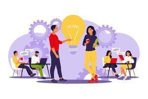 equipe de negócios discutindo ideias para inicialização. colegas compartilhando pensamentos. conceito de brainstorm, habilidade e trabalho em equipe. ilustração vetorial. apartamento vetor
