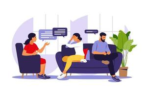 terapia familiar e aconselhamento. mulher psicoterapeuta apoio casal com problemas psicológicos. sessão de psicoterapia familiar. conversa com um psicólogo. ilustração vetorial. vetor