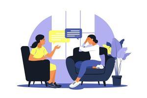 terapia e aconselhamento sob estresse e depressão. psicoterapeuta jovem apóia mulheres com problemas psicológicos. vetor