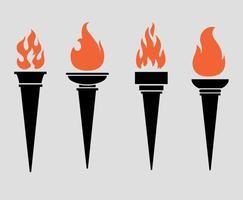 tocha coleção ícones pretos chama ilustração vetorial design abstrato com fundo cinza vetor