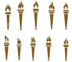 coleção tocha marrom flamejando no fundo branco ilustração abstrata design vetor