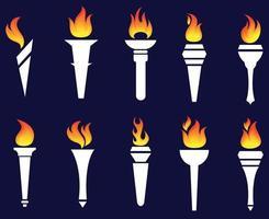 projeto tocha coleção fogo ilustração abstrata chama vetor sobre fundo azul
