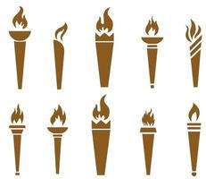 Tocha flamejante marrom coleção abstrata no fundo branco ilustração design vetor