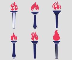 tocha azul coleção logotipo ilustração desenho vetorial abstrato com fundo cinza vetor