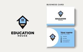 modelo do logotipo da casa da educação da casa do telhado isolado no fundo branco com cartão de visita vetor
