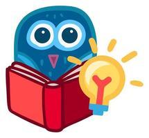 O livro de leitura da coruja dos desenhos animados tem uma ideia nova. adesivo da escola vetor