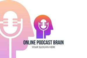 banner da web modelo de página de destino online de podcast vetor
