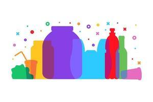 reduzir o desperdício de plástico e separar o pôster de lixo vetor