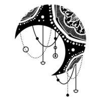 Mandala de lua negra étnica com design de padrão oriental vetor
