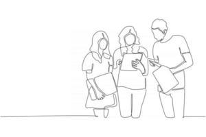 linha contínua três alunos se encontram com ilustração vetorial de livro vetor