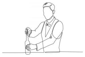 ilustração em vetor linha contínua de bartender abrindo garrafa de vinho