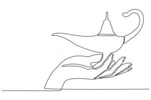 mão em linha contínua com ilustração vetorial de lâmpada de aladim vetor