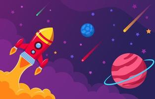 lançando foguete espacial para o céu vetor