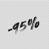 Parede de tijolo alta detalhadas com porcentagem, ilustração vetorial vetor