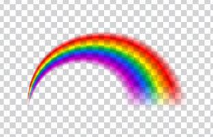 Arco-íris transparente. Ilustração vetorial Arco-íris realista em fundo transparente. vetor