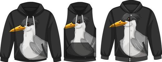 conjunto de diferentes jaquetas com modelo de pássaro vetor