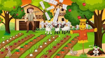 cena de fazenda ao pôr do sol com o velho fazendeiro e animais fofos vetor