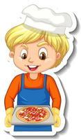 desenho de adesivo com chef boy segurando uma bandeja de pizza vetor