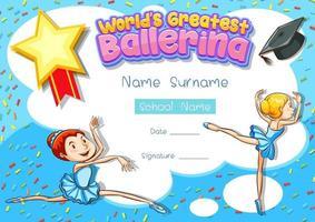 modelo de certificado para a melhor bailarina do mundo vetor
